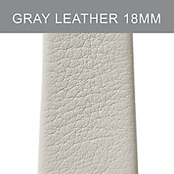 18mm Light Gray Thin Leather Strap