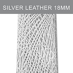 18mm Silver Bark Thin Leather Strap