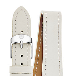 18mm White Leather Double Wrap Strap