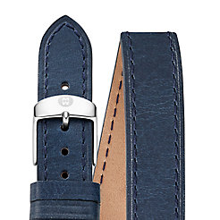 18mm Navy Leather Double Wrap Strap