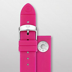18 mm Pink Silicone Silver Grommet Strap