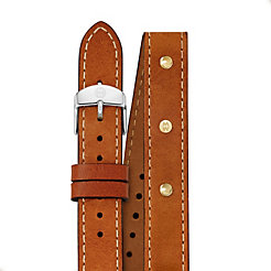 18mm Saddle Calfskin Gold Stud Double Wrap Strap