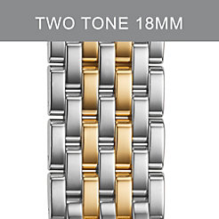 18mm Caber 7-Link Two-Tone Gold Stainless Steel Bracelet