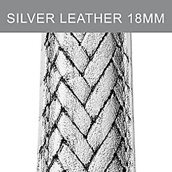 18mm Silver Metallic Braided Leather