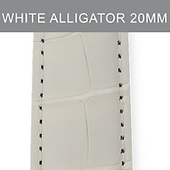 20mm Long White Alligator Strap