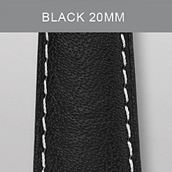 20mm Black with White Stitching Calfskin Strap (Extra Long)