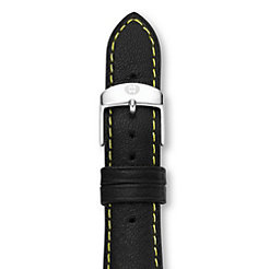 20mm Black with Yellow Stitching Calfskin Strap (Extra Long)