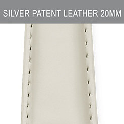 20mm Silver Patent Leather Strap