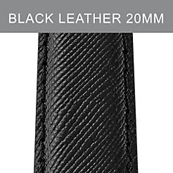 20 mm Jet Black Leather Strap