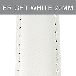 20 mm Bright White Leather Strap