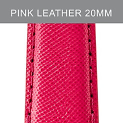 20 mm Bright Pink Leather Strap