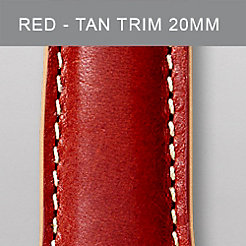 20 mm Red Leather Tan Trim Strap