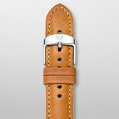 20 mm Khaki Leather Tan Trim Strap