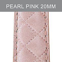 20mm Pearl Pink Quilted Leather Strap
