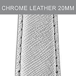20mm Metallic Chrome Leather Strap