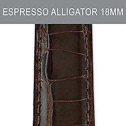 18mm Long Espresso Alligator Strap