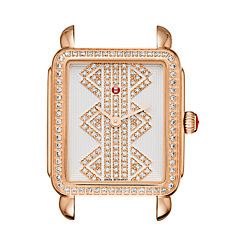 Deco ll Mid Rose Gold, Pattern Diamond Dial