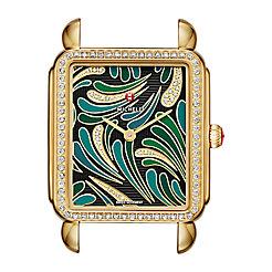 Deco II Bijoux Diamond Gold, Green Diamond Dial Watch