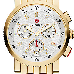 Sport Sail Small Gold, Diamond Dial Watch