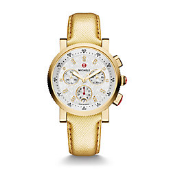 Sport Sail Small Gold, Diamond Dial Metallic Gold Leather Watch