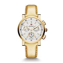 Sport Sail Small Gold, Diamond Dial Metallic Gold Leather Watch