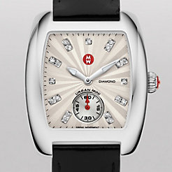 Urban Mini White Diamond Dial Black Patent Watch