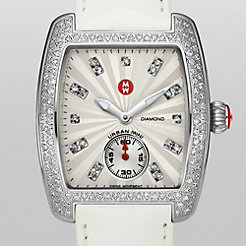 Urban Mini Diamond, Diamond Dial White Patent Watch