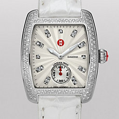 Urban Mini Diamond, Diamond Dial Silver Alligator Watch