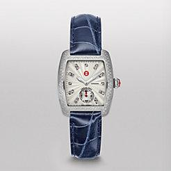 Urban Mini Diamond, Diamond Dial Navy Alligator Watch