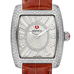 Urban Mini Diamond, Diamond Dial Coffee Alligator Watch