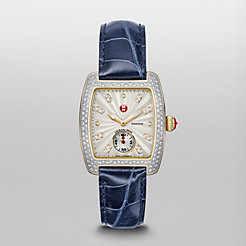 Urban Mini Diamond Two-Tone, Diamond Dial Navy Alligator Watch