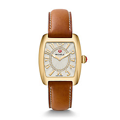 Urban Mini Gold, Diamond Dial Saddle Leather Watch
