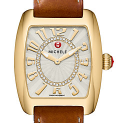 Urban Mini Gold, Diamond Dial Saddle Leather Watch