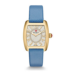 Urban Mini Gold, Diamond Dial Blue Thin Saffiano Watch