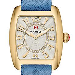 Urban Mini Gold, Diamond Dial Blue Thin Saffiano Watch