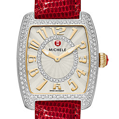 Urban Mini Diamond Two-Tone, Diamond Dial Wine Lizard Watch