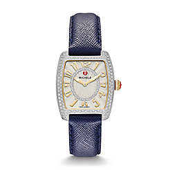 Urban Mini Diamond Two-Tone, Diamond Dial Navy Saffiano Watch