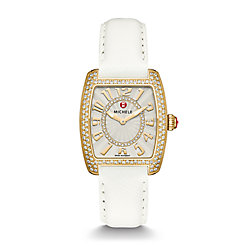 Urban Mini Diamond Gold, Diamond Dial White Leather Watch