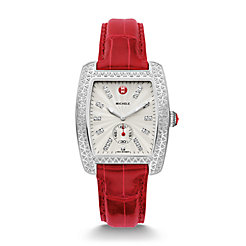 Urban Diamond, Diamond Dial Garnet Alligator Watch