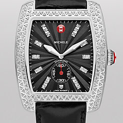 Urban Diamond, Black Diamond Dial Black Alligator Watch