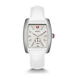 Urban, Diamond Dial White Patent Watch