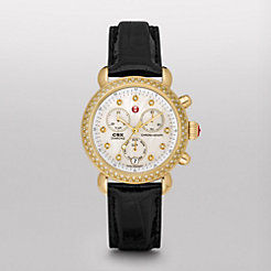 Signature CSX-36 Diamond Gold, Diamond Dial Black Alligator Watch