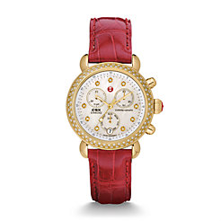 Signature CSX-36 Diamond Gold, Diamond Dial Garnet Alligator Watch
