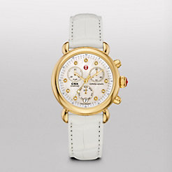 Signature CSX-36 Gold, Diamond Dial White Alligator Watch