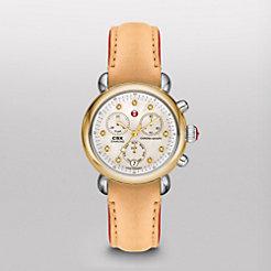 CSX-36 Non-Diamond Two-Tone, Diamond Dial Tan Fashion Leather Watch