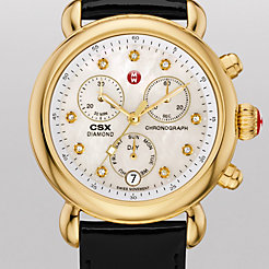 Signature CSX-36 Gold, Diamond Dial Black Patent Watch