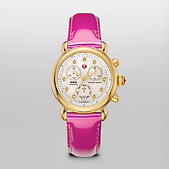 Signature CSX-36 Gold, Diamond Dial Pink Patent Watch