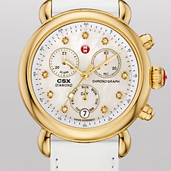 Signature CSX-36 Gold, Diamond Dial White Patent Watch