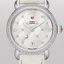 CSX Diamond, Quilted Mosaic Diamond Dial White Alligator Watch