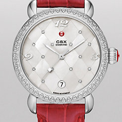 CSX Diamond, Quilted Mosaic Diamond Dial Garnet Alligator Watch